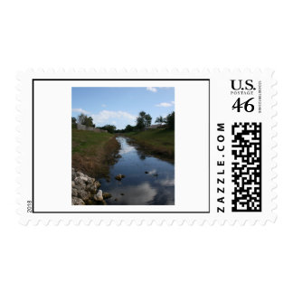 Rock Fence Water House Florida Picture Postage