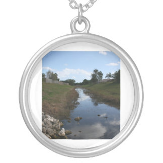 Rock Fence Water House Florida Picture Round Pendant Necklace