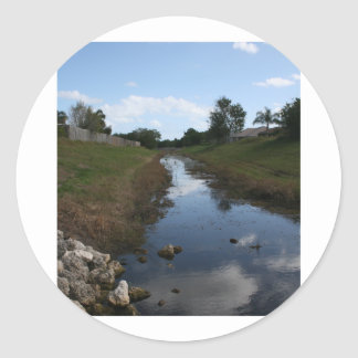Rock Fence Water House Florida Picture Round Stickers