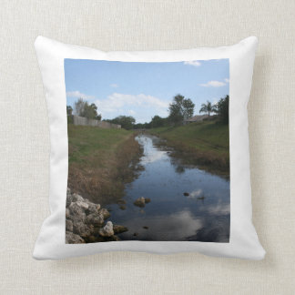 Rock Fence Water House Florida Picture Throw Pillow
