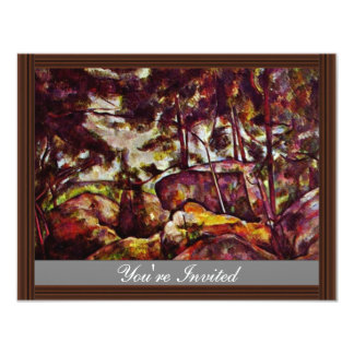 Rock Forest Of Fontainebleau By Paul Cézanne Personalized Invitation