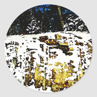 Rock Formation in the Snow Classic Round Sticker
