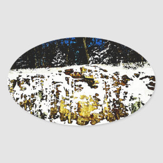 Rock Formation in the Snow Oval Sticker