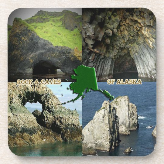 Rock Formations and Caves in Alaska Collage Beverage Coaster