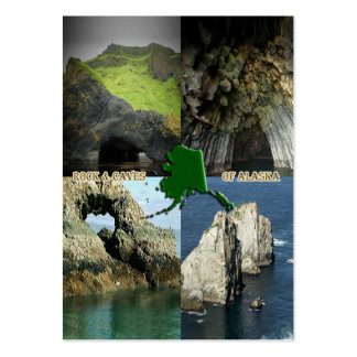 Rock Formations and Caves in Alaska Collage Business Card Templates