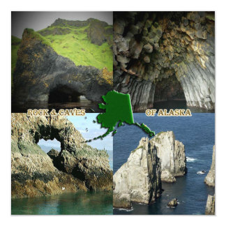 "Rock Formations and Caves in Alaska Collage 5.25"" Square Invitation Card"