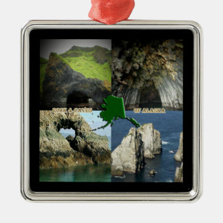 Rock Formations and Caves in Alaska Collage Metal Ornament