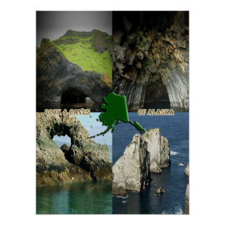 Rock Formations and Caves in Alaska Collage Poster