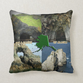 Rock Formations and Caves in Alaska Collage Throw Pillow