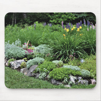 Rock Garden Pink Dianthus Lupine Silver Mound Mouse Pad