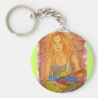 Rock Girl Basic Round Button Keychain