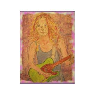 Rock Girl Wood Poster