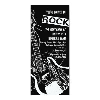 Rock Guitar Black Invitation