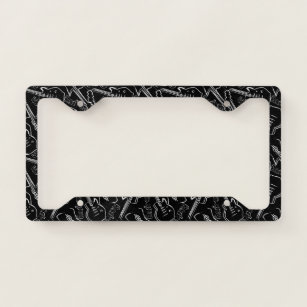 DZGlobal Music Musical Note Treble Clef Pattern Printed License Plate Frame Auto Licenses Plates Covers Waterproof Car Tag Aluminum Metal Frames White Black for Women Girls