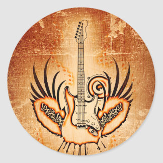 Rock Guitar  New Fashion Classic Round Sticker