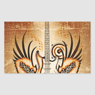 Rock Guitar  New Fashion Rectangular Sticker