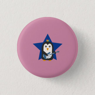 Rock Guitar Penguin Button