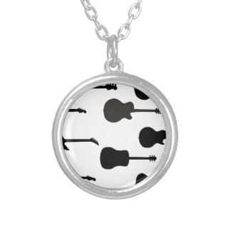 Rock Guitar Silhouettes Silver Plated Necklace