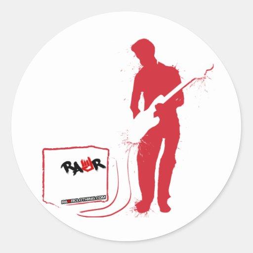 Rock Guitarist - emo rocker band amp grunge Round Stickers