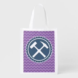 Rock Hammer Badge with Chevron Pattern (One-Sided) Reusable Grocery Bag
