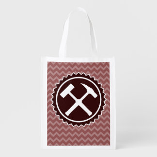 Rock Hammer Badge with Chevron Pattern (Two-Sided) Reusable Grocery Bag