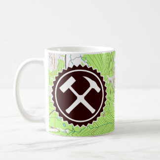 Rock Hammer Badge with Topo Map Coffee Mug