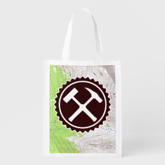 Rock Hammer Badge with Topo Map (Two-Sided) Reusable Grocery Bag