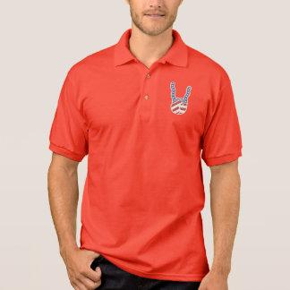Rock Hand Flag Wavy Polo Shirt
