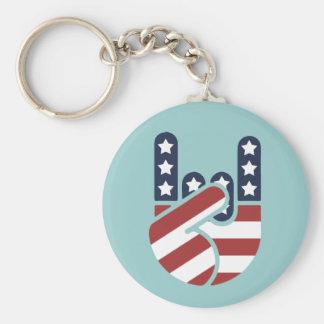 Rock Hand USA Keychain