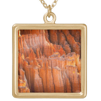 Rock Hoodoos in Morning Light Square Pendant Necklace