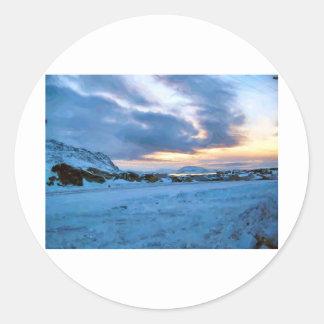 Rock Ice Sky Sun by Ozborne Whilliamsson Classic Round Sticker