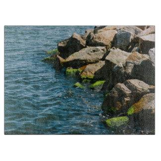 Rock In A Blue Sea, Landscape Photography Cutting Board