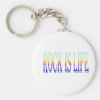 Rock is Life Basic Round Button Keychain