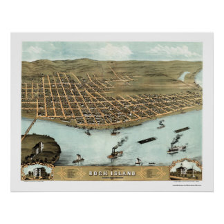 Rock Island, IL Panoramic Map - 1869 Poster