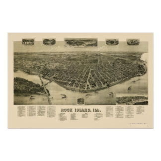 Rock Island, IL Panoramic Map - 1889 Poster