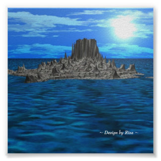 Rock Island in the SUN 3D Landscape Poster