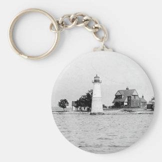 Rock Island Lighthouse Basic Round Button Keychain