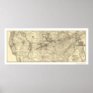 Rock Island Railroad Map 1888 Poster