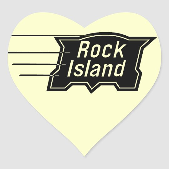 Rock Island Railroad Speed Logo Heart Sticker