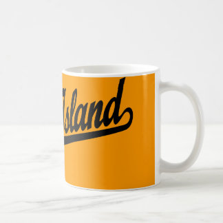 Rock Island script logo in black Coffee Mug