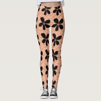 Rock-It-Daisies(c) Peach-Black_XS-XL_Leggings_ Leggings