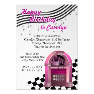Rock Jukebox Birthday Personalized Invitations