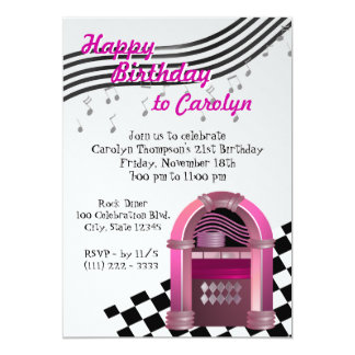 Rock Jukebox Birthday Personalized Invitations