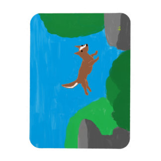rock jumping dog magnet