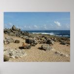 Rock Monuments on Aruban Coast Poster