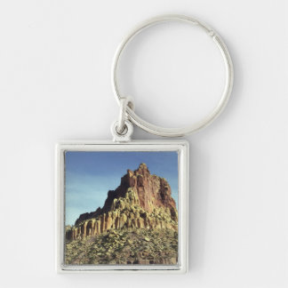 Rock Mountain Summit Silver-Colored Square Keychain