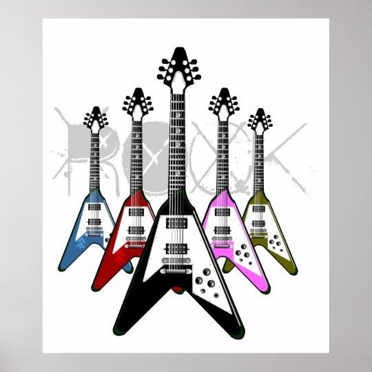 Rock multi color guitars poster