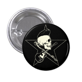 rock n rodada Skull Pin Redondo De 1 Pulgada