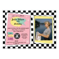 Rock N Roll 1950s Birthday Pink Retro Photo Invite