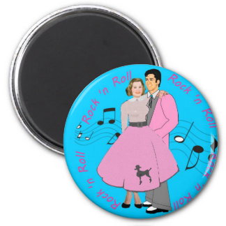Rock ' n Roll 2 Inch Round Magnet